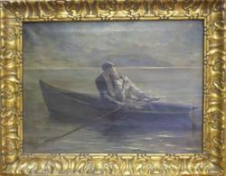 Barque sur le lac la nuit