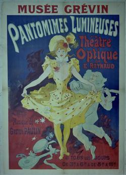 Affiche originale des représentations de Pantomines lumineuses d'Emile Reynaud au musée Grévin