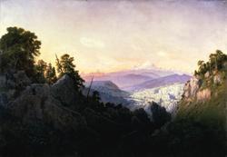 Le Mont Blanc au lever du soleil. Vue des lapiaz du Parmelan